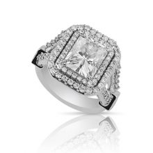 Radiant Moissanite Forever One Halo Pave Engagement Ring