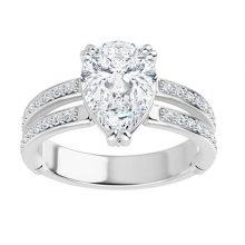 Pear Moissanite Forever One Engagement Ring