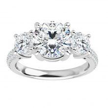 Round Moissanite Forever One 3 Stone Engagement Ring