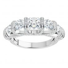 Asscher & Round Moissanite Forever One Semi Eternity Wedding Band Ring