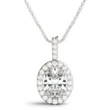 Oval Moissanite Forever One Near Colorless Halo Pendant