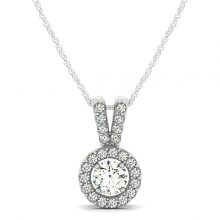 Round Moissanite Forever One Near Colorless Halo Pendant