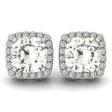 Cushion Moissanite Forever One Micro Pave Halo Stud Earring