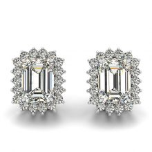 Emerald Moissanite Forever One Shared Prong Halo Stud Earrings