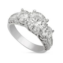 Round Moissanite Forever One Three Stone Ring