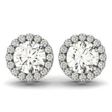 Round Moissanite Forever One Halo Earrings