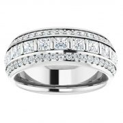 Round & Square Moissanite Forever One Eternity Ring