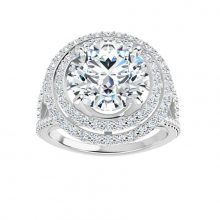 Round Moissanite Forever One Double Halo Pave Engagement Ring
