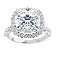 Cushion Moissanite Forever One Pave Engagement Halo Ring