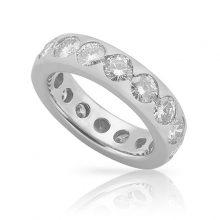 Round Moissanite Forever One Eternity Wedding Band Ring