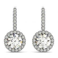 Round Moissanite Forever One Halo Drop Earrings