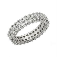 Round Moissanite Forever One Full Eternity Twin Band
