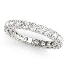 Round Moisanite Forever One Common Prong Wedding Band Ring