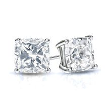 Cushion Moissanite Forever One Stud Earrings