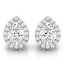 Pear Moissanite Forever One Halo Earrings