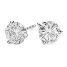 Round Moissanite Forever One Martini Stud Earrings