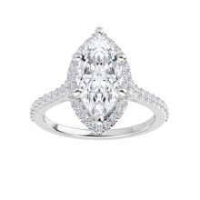 Marquise Moissanite Forever One Halo Engagement Ring