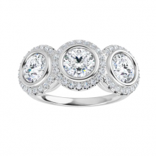 Round Moissanite Forever One Halo 3 Stone Ring