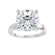 Cushion Moissanite Forever One Solitaire Ring