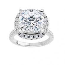 Cushion Moissanite Forever One Halo Eternity Engagement Ring