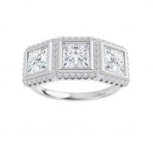 Square Moissanite Forever One Halo 3 Stone Engagement Ring