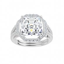 Asscher Moissanite Forever One Halo Engagement Ring