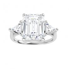 Emerald & Trillion Moissanite Forever One 3 Stone Ring