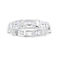 Emerald Moissanite Forever One Eternity Wedding Band Ring