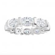 Oval Moissanite Forever One Full Eternity Wedding Band Ring