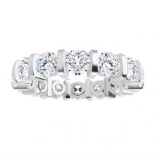 Round Moissanite Forever One Full Eternity Wedding Band Ring