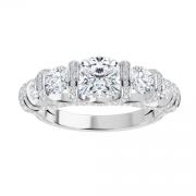 Cushion & Round Moissanite Forever One Semi Eternity Wedding Band Ring