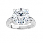 Round Moissanite Forever One Solitaire Engagement Ring