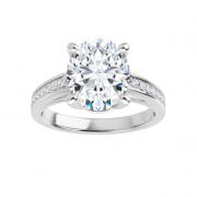 Oval Moissanite Forever One Solitaire Engagement Ring