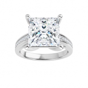 Square Moissanite Forever One Solitaire Engagement Ring