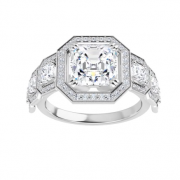 Asscher Moissanite Halo Engagement Ring - 2.65tcw - 3.90tcw