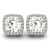 Cushion Moissanite Halo Stud Earrings - 1.34tcw - 3.54tcw