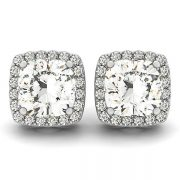 Cushion Moissanite Halo Stud Micro Pave Earrings - 1.34tcw - 3.54tcw