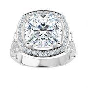 Cushion Moissanite Moissanite Halo Engagement Ring - 2.70tcw - 6.02tcw