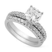 Cushion Moissanite Wedding Set Ring - 1.55tcw - 5.47tcw