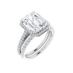 Emerald Moissanite Halo Bridal Set Rings - 1.58tcw - 4.12tcw