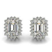 Emerald Moissanite Halo Stud Earrings - 3.50tcw