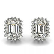 Emerald Moissanite Shared Prong Halo Stud Earrings - 4.00tcw