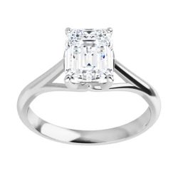 Emerald Moissanite Solitaire Ring - 1.01ct - 1.75ct