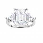 Emerald & Trillion Moissanite 3 Stone Ring - 2.35tcw - 5.55tcw