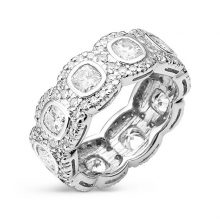 Cushion Moissanite Forever One Bezel & Pave Eternity Ring