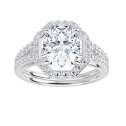 Oval Moissanite Halo Engagement Ring - 2.30tcw - 3.80tcw