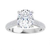 Oval Moissanite Side Stone Engagement Ring - 2.40tcw - 5.10tcw