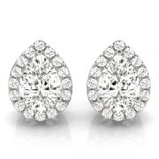 Pear Moissanite Halo Earrings - 2.83tcw - 3.40tcw