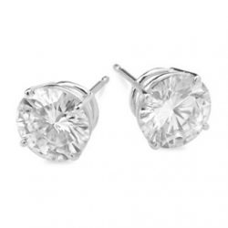 Round Moissanite Basket Stud Earrings - 1.00tcw - 5.40tcw