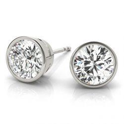 Round Moissanite Bezel Stud Earrings - 1.00tcw - 3.80tcw